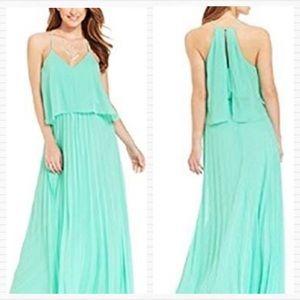B DARLIN Mint Green Pleated Maxi Dress
